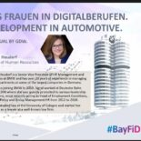 """Screenshot einer Präsentations-Folie von Sigrid Heudorf (BMW Group) mit dem Titel """"BayFiD - Bayerns Frauen in Digitalberufen. Data Driven Development in Automotive."""""""