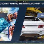 """Screenshot eine Präsentationsfolie mit dem Titel """"Smart Production mit Wirkung im BMW Produktionssystem."""""""