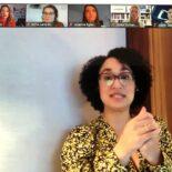 Screenshot der Videokonferenz mit Kenza Ait Si Abbou Lyadini im Gespräch