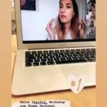 """Screenshot einer Instagram Story: Im Hintergrund ein Laptop mit Tijen Onaran auf dem Bildschirm - im Vordergrund der Text """"Heute @bayfid_ Workshop zum Thema Personal Branding mit - the one and only - @tijen-onaran"""""""