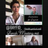 """Screenshot einer Instagram Story mit Bildern von Teilnehmerinnen mit dem Text """"@bayfid_ @judith_gerlach_mdl Einblick in den digitalen Stammtisch von #BayFiD"""""""