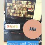 """Screenshot einer Instagram Story: Im Hintergrund ein Laptop, der eine Videokonferenz zeigt. Darüber der Text """"@bayfid_ are lunch and learn"""""""