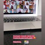 """Screenshot einer Instagram Story: Im Hintergrund ein Laptop mit den Workshop-Teilnehmerinnen auf dem Bildschirm - im Vordergrund der Text """"Virtual lunch date w/ @judith_gerlach_mdl"""""""