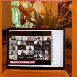 """Screenshot eine Instagram-Story mit dem Bild eines Laptops, der eine Teilnehmer*innen einer Videokonferenz zeigt. Darüber der Text """"Was für eine herzliche Begrüßung von @tina_b_burkhardt & Tobi - die Founder der @shiftschool"""""""