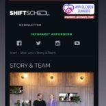 """Screenshot eine Instagram-Story zeigt einen Ausschnitt der Webseite der Shiftschool mit Text darüber """"Danke @tina_b_burkhardt & @shiftschool für die Möglichkeit virtuell mit euch zusammen zu kommen!"""""""